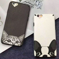 Cute cat dog mobile phone case for iPhone 7 7 plus iphone 6 6s 6plus 6s plus + Nice gift   box!