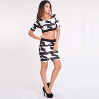 Women 2-pieces Clubwear Black White Hollow Back High Waist Fit Bandage Bodycon Dress