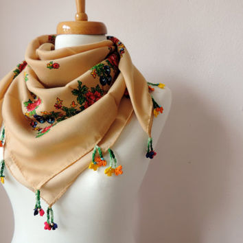 Bohemian Scarf With Crochet Lace, Milky Brown Floral Scarf