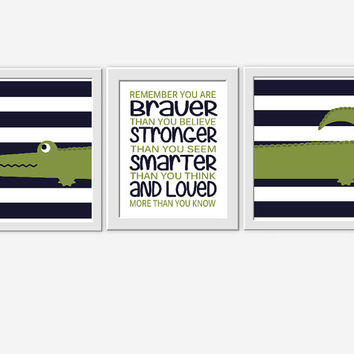 Baby Boy Nursery Wall Art Alligator Navy Blue Green You Are Braver Boys Room Decor Nursery Prints Boys Bedroom Art Baby Boy Nursery Art