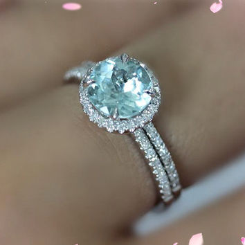 2 Ring Set -7mm Round Cut Aquamarine Ring 14K White Gold Diamonds Engagement Ring Wedding Band Ring Aquamarine Ring Set