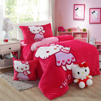 Flannel hello kitty bedding,4pc bed sheet sets without filling,coral fleece hello kitty bedspreads,hello kitty kids duvet cover