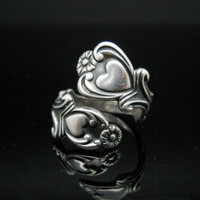 Spoon Ring Hearts Sterling Silver Size 6 Adjustable Band Avon 925
