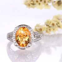 8x10mm Oval Citrine Engagement Ring Diamond Wedding Ring 14K White Gold Heart Halo Split Shank