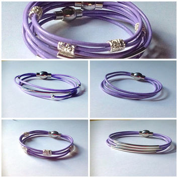 Purple or Lavender Leather Magnetic Bracelets-Awareness-Migraines-Epilepsy-Alzheimer's-Lupus-Panceatic Cancer-Eating Disorder-Orca-Chiari