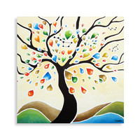 Whimsical Folk Art Painting, Tree of Life Wall Art, Original Acrylic Landscape Painting, Home Decor 24x24