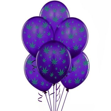 Marijuana Balloons 11in Premium Purple with All-Over print green Marijuana Leaves Pkg/25 - Walmart.com