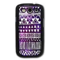Hipster Pattern Tribal Triangles Space - Protective Designer BLACK Case - Fits Samsung Galaxy S3 SIII i9300
