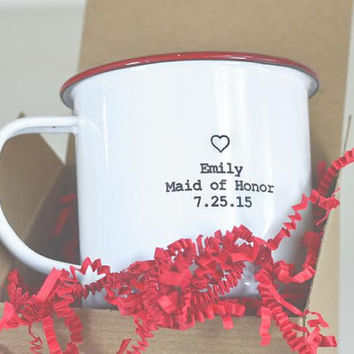 Bridesmaid's Custom Enamel Mugs. These personalized mugs makes a great wedding party gift.