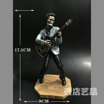 Skull Skulls Halloween Fall Resin Home Decoration Male Singer / Guitar Elvis Presley  Ornaments Calavera