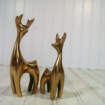 Vintage Solid Brass Deer Set of 2 Table Top Figurines - Hand Forged Bronze Holiday Statues Matching Pair - Hand Crafted Modern Animal Accent