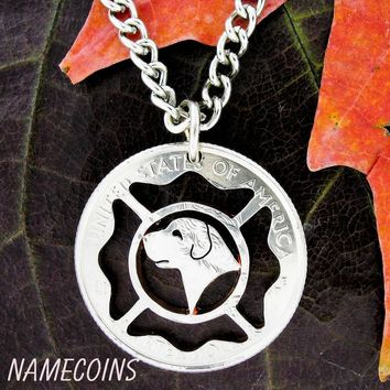 Fireman and fire dog necklace, firefighters hand cut coin by NameCoins