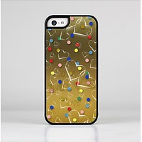 The Gold Hearts and Confetti Pattern Skin-Sert Case for the Apple iPhone 5c