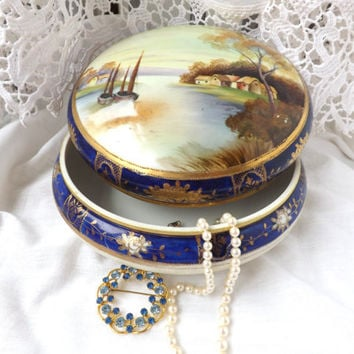 Antique Noritake / Handpainted Noritake / Japan Porcelain / Noritake Lidded Box / Dresser Box / Noritake Lidded Bowl / Ceramic Jewelery Box