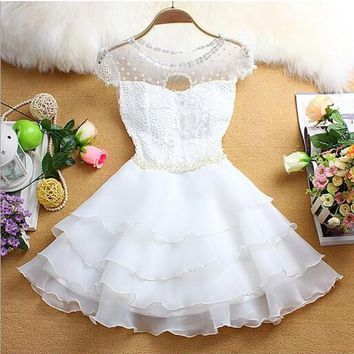 New Women White Patchwork Lace Grenadine Tiered Pearl Mini Dress