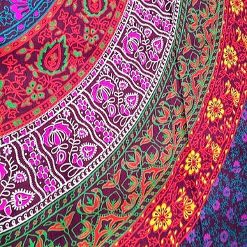 Indian boho decor mandala tapestry, 100% cotton, chic bohemian hippie ethnic style, choice size, wall art, bedsheets, Wonderful COLORS 1005