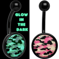 Glow in the Dark Titanium Pink Camouflage Belly Ring | Body Candy Body Jewelry
