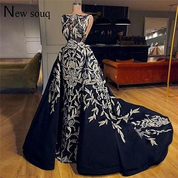 Navy Blue Evening Gown Arabic Turkish Dubai Couture Formal Pageant Dress