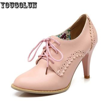 YOUGOLUN Sexy Women Lace up High Heels(9cm) Fashion Woman Thin Heel Party Shoes Elegan