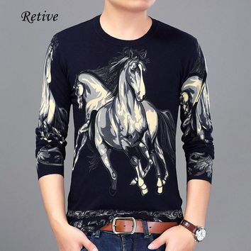 Retive 2017 Autumn And Spring New Men Printing Horse Sweaters Plus Size M-3XL Full Sleeve O-neck Knitted Jumper Men Pullover