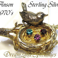 Gold washed Sterling Silver Vintage Jewelry Anson Bird on Nest Rhinestone Eggs Brooch