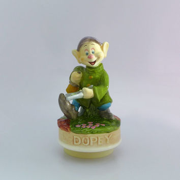 Dopey Musical Figurine, Vintage Walt Disney, Schmid Music Box, Dopey Music Box, Snow White and the Seven Dwarfs, Whistle a Happy Tune