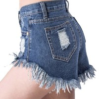 Sexy Women Denim Shorts Irregular High Waisted Shorts Slim Fit Denim Jeans Shorts