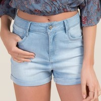 Harper High Rise Rolled Hem Jean Shorts