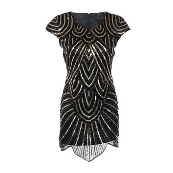 Elegant black 1920s flapper great gatsby dress vintage glitter beading and gold sequin party embroidery women retro Bling dress