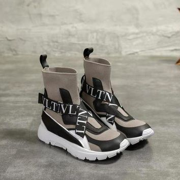 VALENTINO Women's Leather Sneakers Shoes-KUYOU