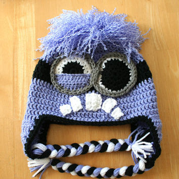 Purple Minion Hat, Evil Minion hat, crochet earflap hat, purple black gray white, Halloween costume, Newborn to 12 month sizes, photo prop