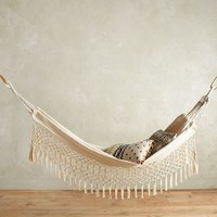 Fringed Macramé Hammock by Anthropologie in Gold Size: One Size Garden