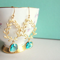 Turquoise Wedding Gold Blue Bride Dangling Bridal Earrings Laurel Wreath Leaves Grecian Olive Branch Chic Blue Glass Drop Dangle Earrings C1