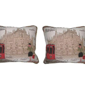 "Set of Two Postcard of Milan Elegant Novelty Woven Square Throw Toss Accent Cushion Cover Pillow with Inserts - 2-Pieces - 18"" x 18"" (CC45X45CMG14421)"
