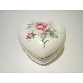 San Francisco Music Box Company Porcelain Heart Jewelry Box