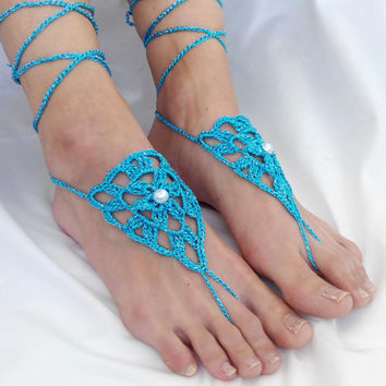 Barefoot Sandals Turquoise Pearl Footless Clothes Anklet Toe Steampunk Foot Jewelry Boho Dreamcatcher Sexy Beach