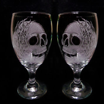 wine glasses skulls and flames set of two hand engraved glass water goblets  custom barware  gift ideas