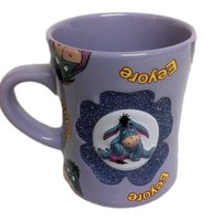Disney Parks Eeyore Mug 3D Raised Relief Purple w/ Glitter Flower 16 fl oz