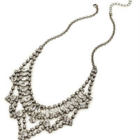FOREVER 21 Rhinestone Encrusted Bib Necklace Gunmetal/Clear One