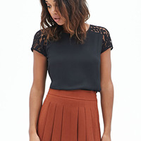 FOREVER 21 Crochet Lace Woven Top