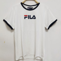 FILA New fashion bust letter print color matching round neck short-sleeved T-shirt Pink