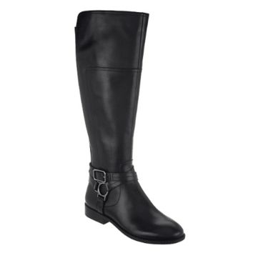 Marc Fisher Black Aliza Wide Calf Tall Shaft Leather Boots
