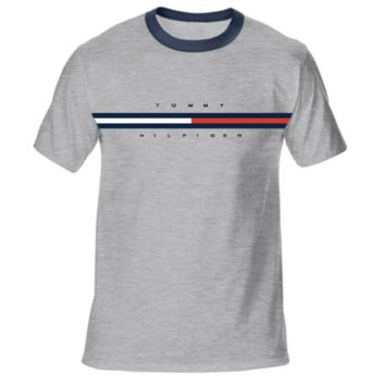 Tommy Summer New Fashion Letter Stripe Print Women Men Top T-Shirt Gray