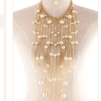 Statement Jewelery Jewellery Necklace Gold Chain Necklace  Pearl Necklace Set - By PiYOYO