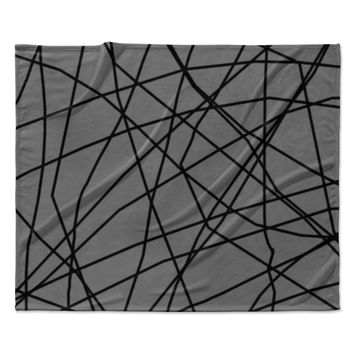 "Trebam ""Paucina v2"" Gray Black Fleece Throw Blanket"