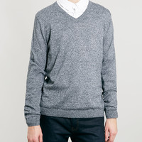 SALT/PEPPER TWIST V-Neck SWEATER - Topman