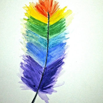 10% off Sale Original Watercolor painting Rainbow Feather 5x7 by Amanda Pennington