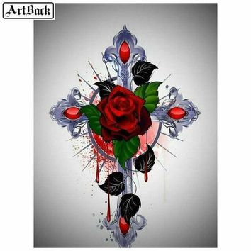 5D Diamond Painting Red Rose Cross Kit