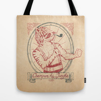 Champion of the Jungle Tote Bag by Mike Koubou