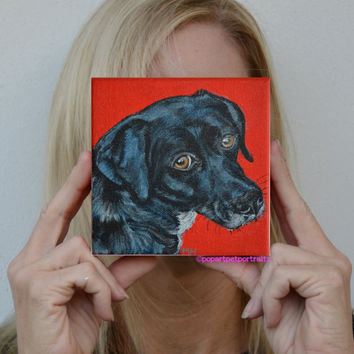 Black Labrador painting  Original dog paintings dog art Modern pet portraits Acrylic paintings pop art pet portraits  Custom portraits